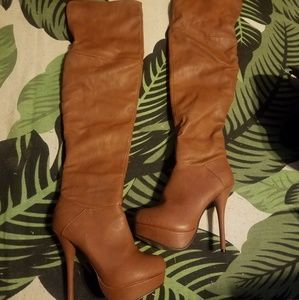 Charlotte Russe brown leather heel knee high boots